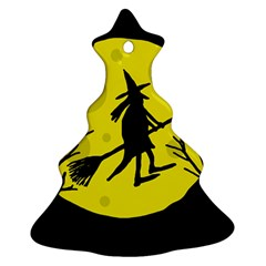Halloween witch - yellow moon Christmas Tree Ornament (2 Sides)