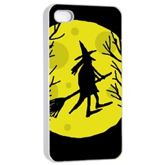 Halloween witch - yellow moon Apple iPhone 4/4s Seamless Case (White)