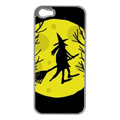 Halloween witch - yellow moon Apple iPhone 5 Case (Silver)
