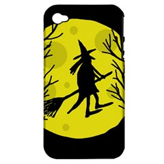 Halloween witch - yellow moon Apple iPhone 4/4S Hardshell Case (PC+Silicone)