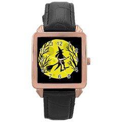 Halloween witch - yellow moon Rose Gold Leather Watch