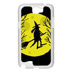 Halloween witch - yellow moon Samsung Galaxy Note 2 Case (White)