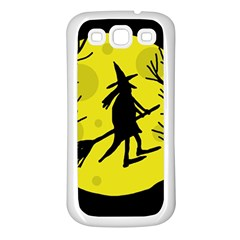 Halloween witch - yellow moon Samsung Galaxy S3 Back Case (White)