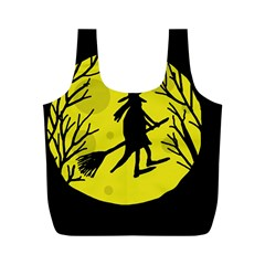 Halloween witch - yellow moon Full Print Recycle Bags (M)