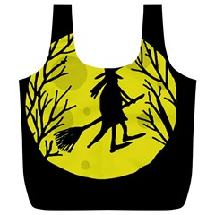 Halloween witch - yellow moon Full Print Recycle Bags (L)