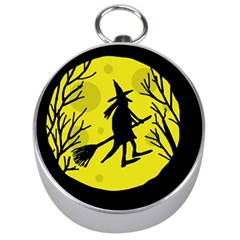Halloween witch - yellow moon Silver Compasses