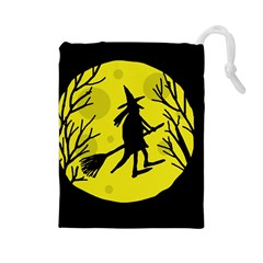 Halloween witch - yellow moon Drawstring Pouches (Large)