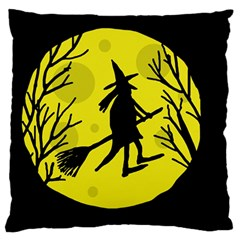 Halloween witch - yellow moon Standard Flano Cushion Case (Two Sides)