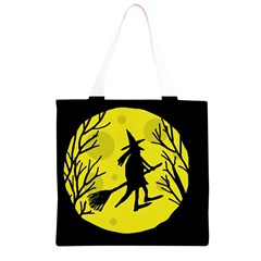 Halloween witch - yellow moon Grocery Light Tote Bag