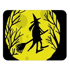 Halloween witch - yellow moon Double Sided Flano Blanket (Large)