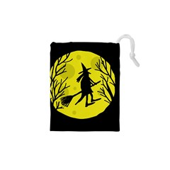 Halloween witch - yellow moon Drawstring Pouches (XS)