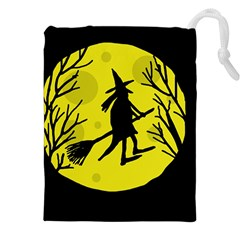 Halloween witch - yellow moon Drawstring Pouches (XXL)