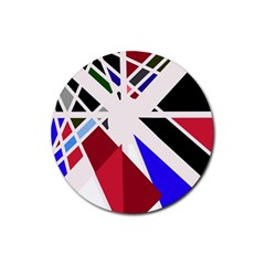Decorative flag design Rubber Round Coaster (4 pack)