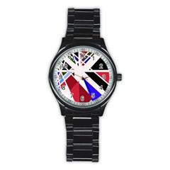 Decorative flag design Stainless Steel Round Watch