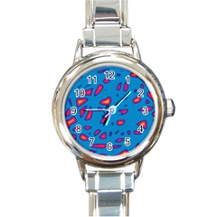 Blue and red neon Round Italian Charm Watch