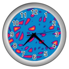 Blue and red neon Wall Clocks (Silver)
