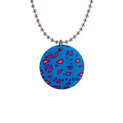 Blue and red neon Button Necklaces