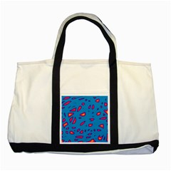 Blue and red neon Two Tone Tote Bag