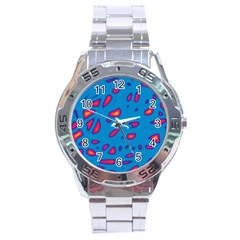 Blue and red neon Stainless Steel Analogue Watch