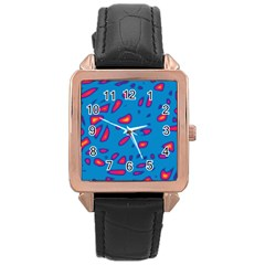 Blue and red neon Rose Gold Leather Watch