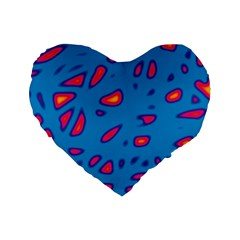 Blue and red neon Standard 16  Premium Flano Heart Shape Cushions