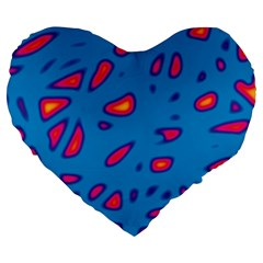 Blue and red neon Large 19  Premium Flano Heart Shape Cushions