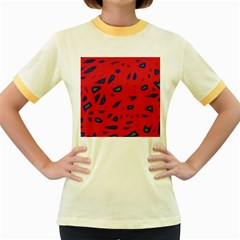 Red neon Women s Fitted Ringer T-Shirts