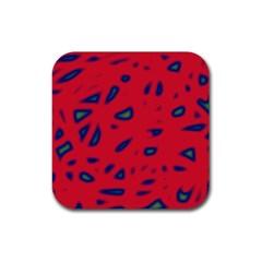 Red neon Rubber Coaster (Square)