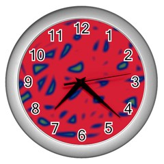 Red neon Wall Clocks (Silver)