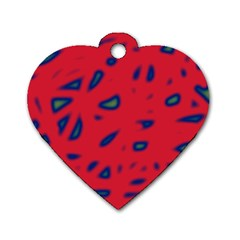 Red neon Dog Tag Heart (Two Sides)