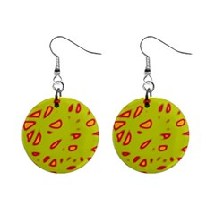 Yellow neon design Mini Button Earrings