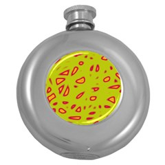Yellow neon design Round Hip Flask (5 oz)