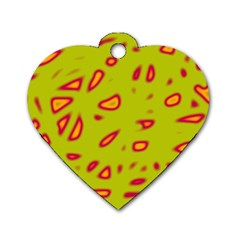 Yellow neon design Dog Tag Heart (One Side)
