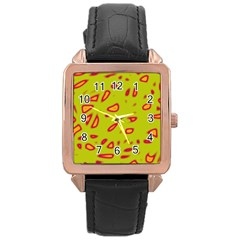 Yellow neon design Rose Gold Leather Watch