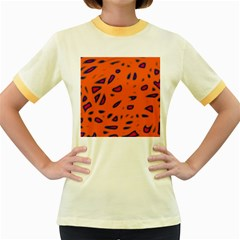 Orange neon Women s Fitted Ringer T-Shirts