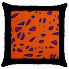 Orange neon Throw Pillow Case (Black)