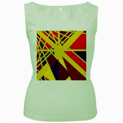 Hot abstraction Women s Green Tank Top