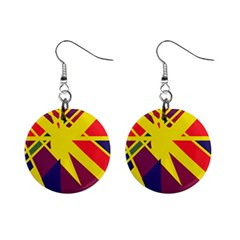 Hot abstraction Mini Button Earrings