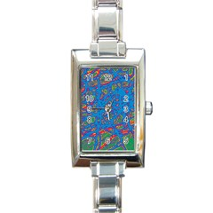 Colorful neon chaos Rectangle Italian Charm Watch