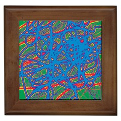 Colorful neon chaos Framed Tiles