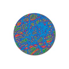 Colorful neon chaos Magnet 3  (Round)