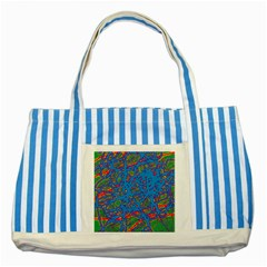 Colorful neon chaos Striped Blue Tote Bag