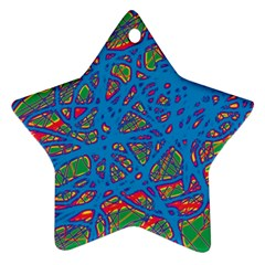 Colorful neon chaos Star Ornament (Two Sides)