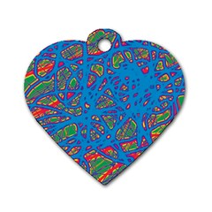 Colorful neon chaos Dog Tag Heart (Two Sides)