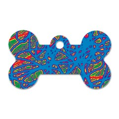 Colorful neon chaos Dog Tag Bone (One Side)