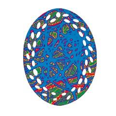 Colorful neon chaos Ornament (Oval Filigree)