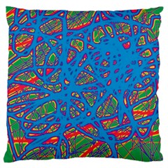 Colorful neon chaos Large Cushion Case (Two Sides)