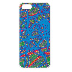 Colorful neon chaos Apple iPhone 5 Seamless Case (White)