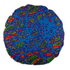 Colorful neon chaos Large 18  Premium Round Cushions
