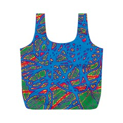 Colorful neon chaos Full Print Recycle Bags (M)